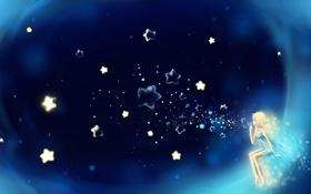 Картинка небо, звезды, ночь, пузыри, арт, живопись