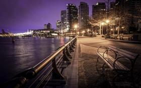 Обои ночь, город, огни, набережная, Vancouver