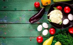 Обои лето, доски, яйца, укроп, баклажан, перец, овощи