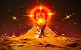 Картинка кошка, взгляд, пирамида, эмблема, пески, desktopography, сфинкс