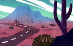 Обои дорога, пустыня, арт, кактусы, нарисованный пейзаж