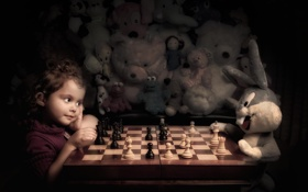 Картинка игрушка, игра, кролик, шахматы, девочка