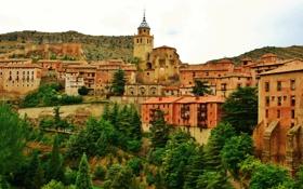 Картинка город, фото, дома, Испания, Aragon Albarracin