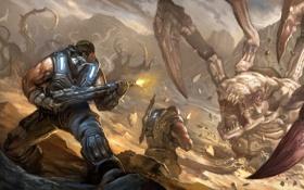 Картинка монстр, солдаты, арт, Gears of War 3, битва, оружие