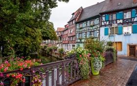 Картинка небо, цветы, мост, Франция, дома, канал, Кольмар