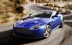 Обои car, Aston Martin, Vantage, blue, speed