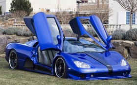 Обои двери, машина, синий, Shelby Super Cars, Ultimate Aero, blue, SSC