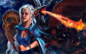 Картинка девушка, огонь, драконы, арт, белые волосы, Game of Thrones, Daenerys Targaryen