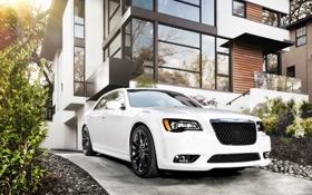 Обои белый, дом, Chrysler, SRT8, автомобиль, 300, крайслер