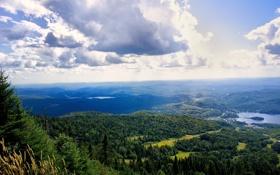 Обои облака, селение, леса, небо, необозримые, озера