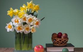 Картинка яблоко, яйца, книга, ваза, нарциссы