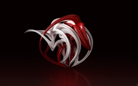 Обои redivivus, белая, красная, завитушка, крендель