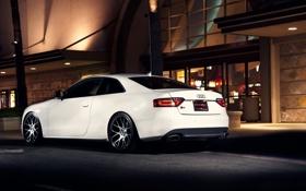 Обои ночь, Audi, ауди, улица, здание, белая, white