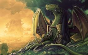 Обои Dragon, sky, trees, clouds, dusk, musical instrument