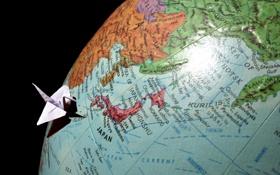 Обои океан, мир, япония, карта, глобус, оригами, страна