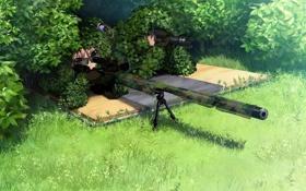 Картинка трава, оружие, девушки, аниме, арт, очки, кусты