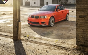 Обои BMW, auto, wallpapers, orange, 1 series, E82, Vorsterien