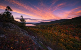 Обои forest, sky, sunset, autumn, lake, hills, fall