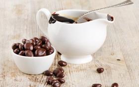 Картинка стол, шоколад, ложка, чашка, горячий шоколад, пиала