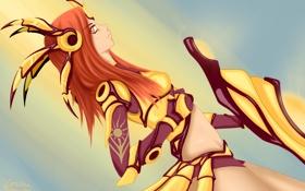 Обои взгляд, девушка, доспехи, щит, art, league of legends, Leona