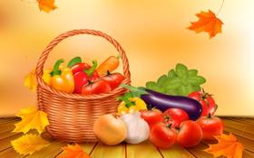 Обои осень, листья, корзина, урожай, тыква, овощи, autumn