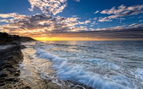 Картинка закат, Spain, побережье, Испания, Аликанте, Alicante, Средиземное море