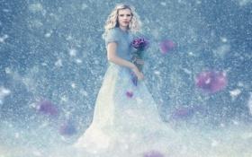 Обои снег, цветы, девочка