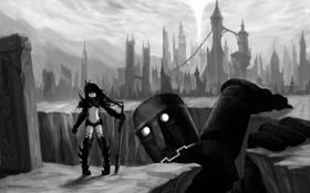 Картинка город, робот, меч, аниме, девочка, развалины, black rock shooter