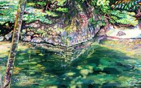 Картинка кот, вода, деревья, природа, озеро, отражение, арт