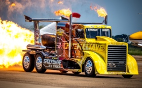 Обои огонь, турбины, грузовик, тягач, Peterbilt
