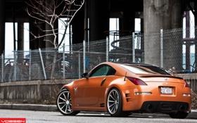 Обои оранжевый, сетка, тюнинг, забор, Nissan, ниссан, 350Z