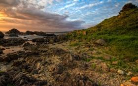 Обои восход, камни, побережье