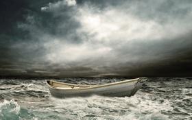 Картинка море, волны, облака, лодка, непогода