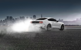 Обои Ford, Mustang, Wheels, Smoke, Rear, White, Muscle