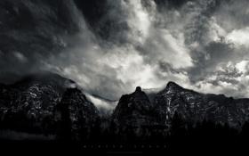 Обои горы, Грег Мартин, тучи, черно-белый