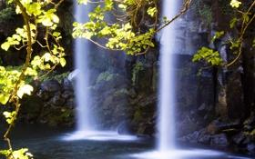 Обои вода, свет, камни