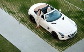 Картинка девушка, модель, Roadster, тачки, Mercedes, Benz, мерседес
