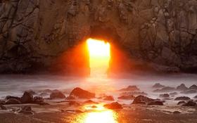 Обои солнце, скала, океан, рассвет, Калифорния, арка, США