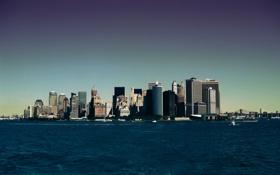 Обои море, город, фото, фон, обои, побережье, здания