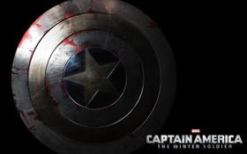 Обои щит, черный фон, постер, крупным планом, Первый мститель: Другая война, Captain America: The Winter Soldier