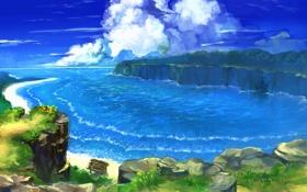 Обои облака, пейзаж, benitama, зелень, море, бухта, берег