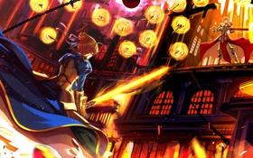 Картинка девушка, оружие, меч, аниме, арт, парень, saber