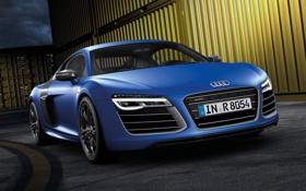 Картинка синий, город, фон, Audi, Ауди, суперкар, передок