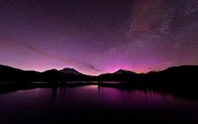 Картинка небо, звезды, горы, ночь, озеро, северное сияние