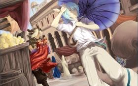 Обои зонтик, аниме, бег, парни