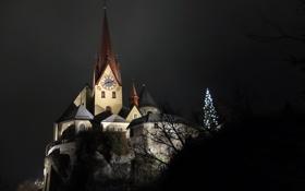 Обои Night, Austria, Church, Rankweil