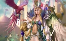 Картинка письмо, девушка, птица, крылья, арт, свиток, Legend of the Cryptids