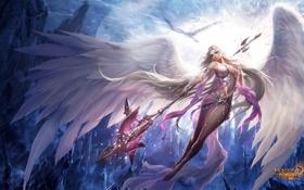 Картинка игра, крылья, ангел, посох, взгялд, Fortuna, League of Angels
