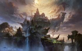 Картинка небо, острова, горы, птицы, Замок, водопады