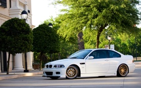 Обои белый, деревья, bmw, бмв, фонари, white, wheels